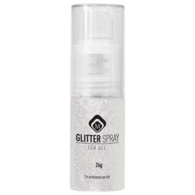 118065 Glitter Spray White, Spray onto wet Gelpolish & cure for 2 min apply Gelpolish Topgel or Soak Off Top Gel-w400