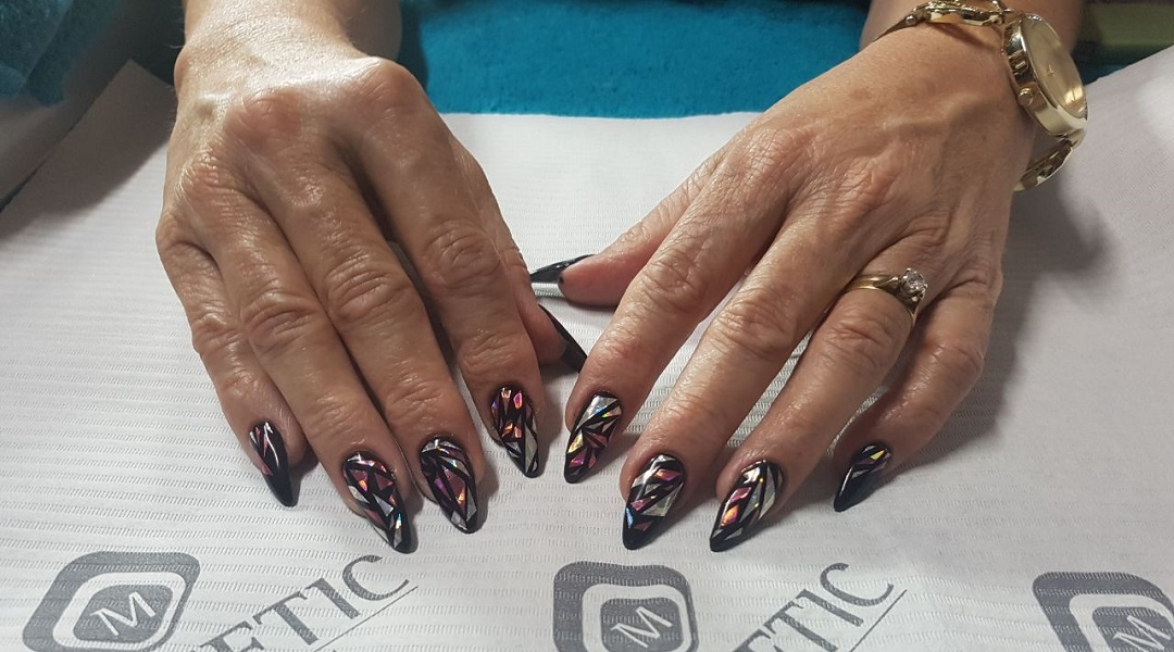 Builder Base Stiletto Nails with Holographic Stickers. Done on the ...