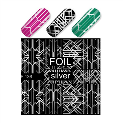 Silver Abstract Nail Art Decals MF136S